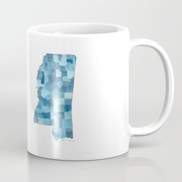 Mississippi Counties Blueprint watercolor map Coffee Mug