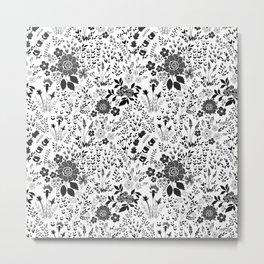 Star Sapphire Floral Celebration Black on White Metal Print