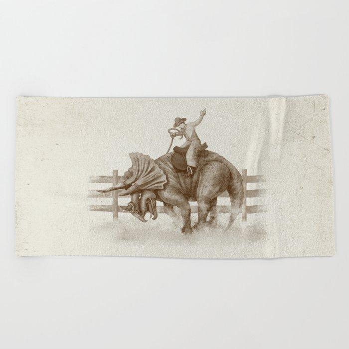 Dino Rodeo  Beach Towel