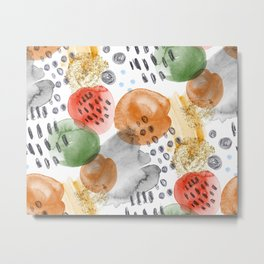 watercolor fashion pattern for fabric painted with paint and pencil Metal Print
