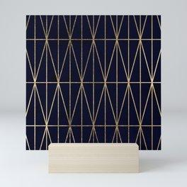 Modern gold geometric triangles pattern navy blue watercolor Mini Art Print