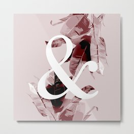 Botanical Banana Leaf Ampersand Pink Copper Metal Print