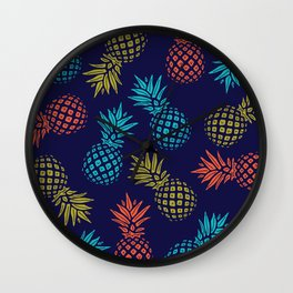 Pineapple Pattern - Aqua Coral and Yellow on Navy Wall Clock