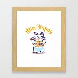 Miso Happy Funny Japanese Anime Cat Manga Gift Framed Art Print