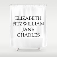 pride and prejudice Shower Curtains featuring Main Characters from Pride and Prejudice  by Bookish and Wonderful
