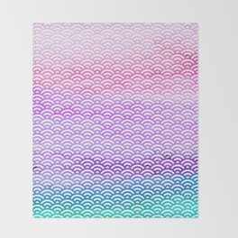 Candy Pop Watercolor Seigaiha Pattern Throw Blanket