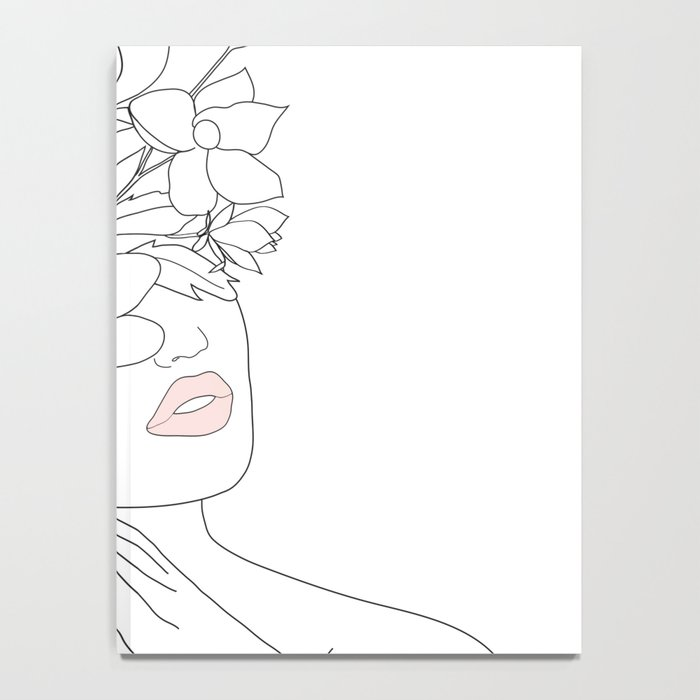 Minimal Line Art Woman with Magnolia Notebook