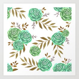 Green vintage roses watercolor Art Print