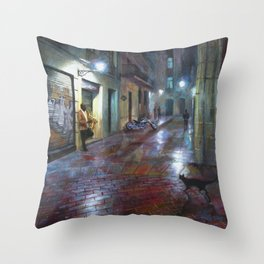 Musician in the night Throw Pillow