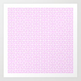 Pink and White Greek Key Pattern Art Print