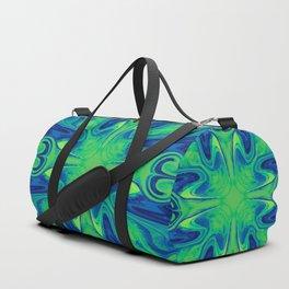 Groovy, Retro Blue and Green Swirls Design Duffle Bag