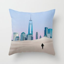 New York City Skyline in the Distance-Surreal Collage Throw Pillow