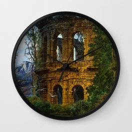 Roman Italian Ruins At Twilight with flying birds in foreground landscape painting by Ferdinand Knab Wall Clock