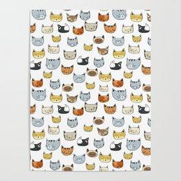 Cat Face Doodle Pattern Poster