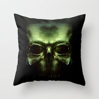 aliens Throw Pillows featuring Aliens by Jav S.
