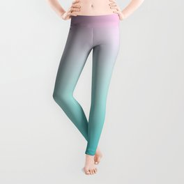 Pastel Ombre Pink Blue Teal Gradient Pattern Leggings