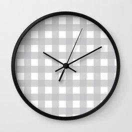 Buffalo Checks Plaid in Dove Gray and White Wall Clock