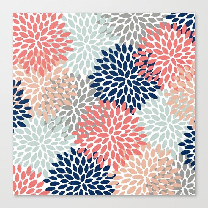 Floral Bloom Print, Living Coral, Pale Aqua Blue, Gray, Navy Leinwanddruck