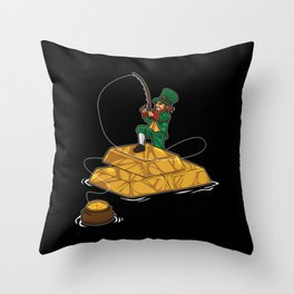 Leprechaun Fishing Gold Coins - Lucky Angler Throw Pillow