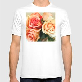 Summer Soft Roses in Red, Peach and Yellow T-shirt