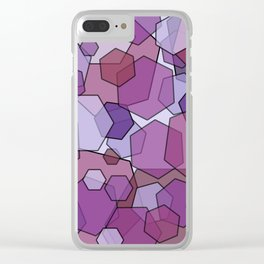 Converging Hexes - Mauve Pink and Purples Clear iPhone Case