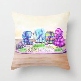 Elephant's Brunch Throw Pillow