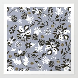 Victorian floral | slate gray Art Print