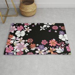 Contemporary Floral Art Pattern by Megan Duncanson MADART Rug