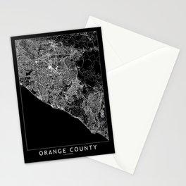 Orange County Black Map Stationery Cards