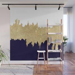 Modern navy blue white faux gold glitter brushstrokes Wall Mural