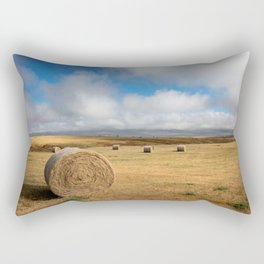 A Day on the Prairie - Round Hay Bales on Golden Landscape in South Dakota Rectangular Pillow