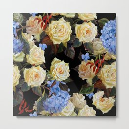 Seamless floral pattern in modern style. White roses and blue hydrangea on a black background. Watercolor painting. Botanical illustration.  Metal Print