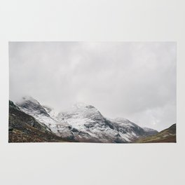 High Stile peak covered in snow. Buttermere, Cumbria, UK. Rug
