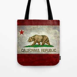 Californian flag the Bear flag in retro grunge Tote Bag