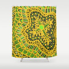 Doodle 16 Yellow Shower Curtain