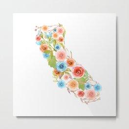 California Watercolor Flowers Metal Print