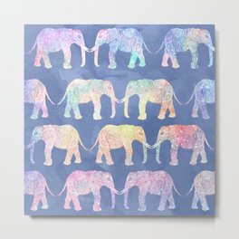 Boho hand drawn paisley tribal elephants pattern illustration on blue watercolor Metal Print