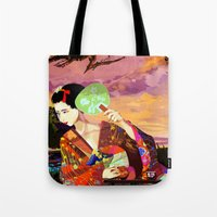 kitsune Tote Bags featuring Kitsune by Sandpaperdaisy