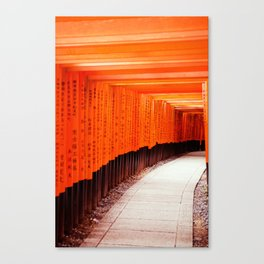 Red Torii Gates in Kyoto Japan Canvas Print