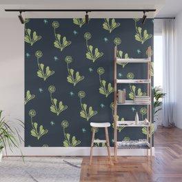 Spider Daisies (green + navy) Wall Mural