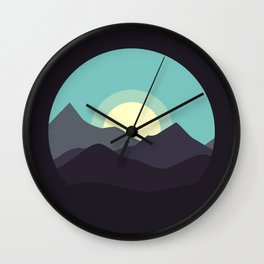 Minimal Mountain Night Wall Clock