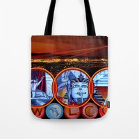 sin city Tote Bags featuring Sin City by Rishi Parikh