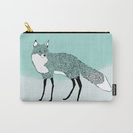 Fox in the snow – Animal Illustration – Kitsune in snow scene – vintage colors – antiqued colors Carry-All Pouch
