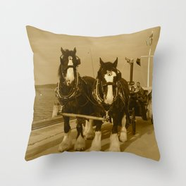 Draft Horses and Carriage Throw Pillow