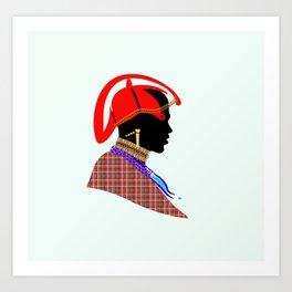 massai warrior kenya africa graphic art Art Print
