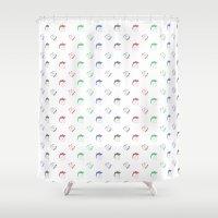 chuck Shower Curtains featuring Chuck & Bear Colors by David Flamm