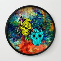 sugar skulls Wall Clocks featuring Sugar Skulls by haroulita