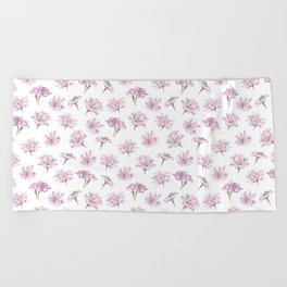 Pink Cherry Willow Blossoms Beach Towel