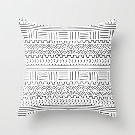 Mud Cloth on White Throw Pillow