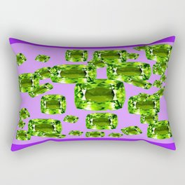 Green Peridot Birthstone Gems with Purple Color Accents Rectangular Pillow